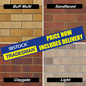 Ibstock: Tradesman Buff multi, Sandfaced, Claygate and Light bricks, now delivery free